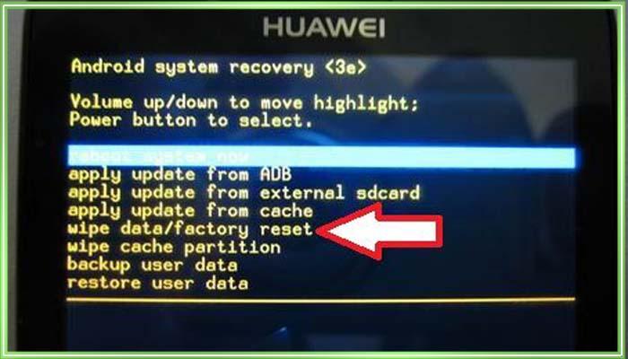 сброс настроек на андроид huawei