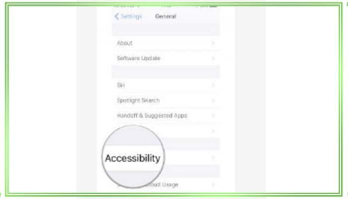 откройте Универсальный доступ Accessibility